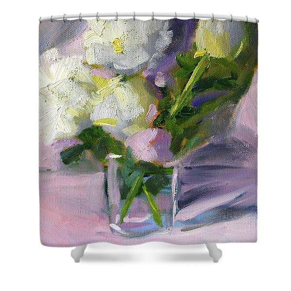 White Peonies Shower Curtain