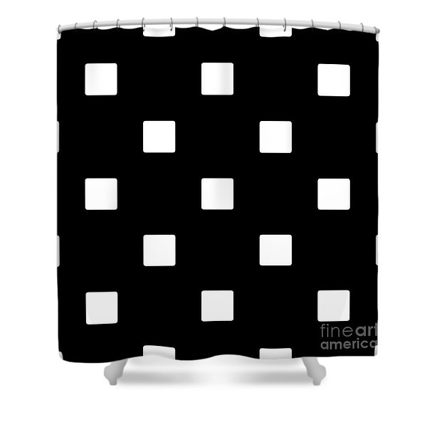 White Squares On A Black Background- Ddh576 Shower Curtain
