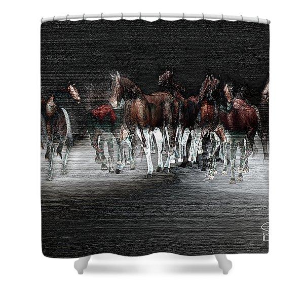 Wild Horses Under Spotlight Shower Curtain