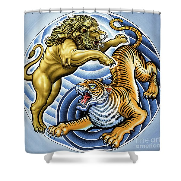 Wild Lion And Tiger  Shower Curtain