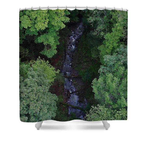Willow Run Creek Shower Curtain