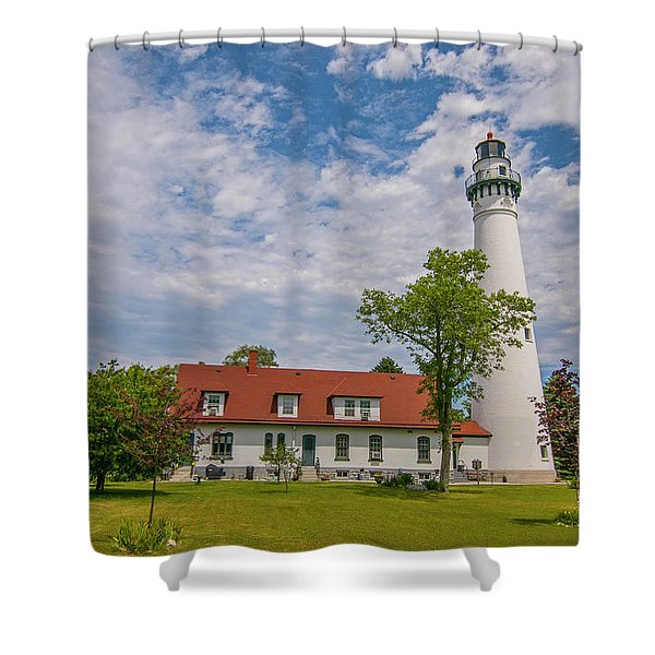 Wind Point Lighthouse  Shower Curtain