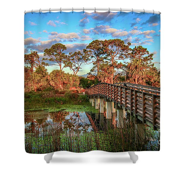 Shower Curtain featuring the photograph Winding Waters Boardwalk by Tom Claud