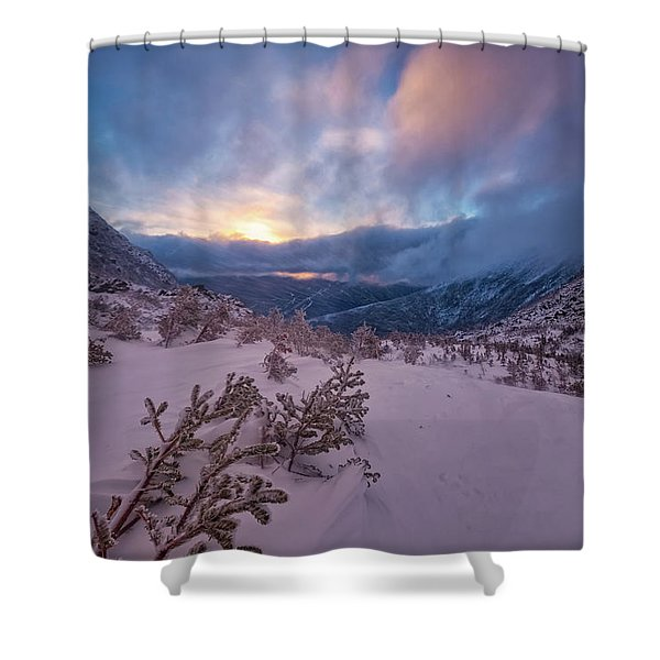 Shower Curtain featuring the photograph Windswept, Spring Sunrise In Tuckerman Ravine by Jeff Sinon
