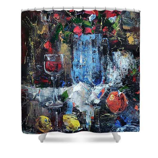 Wine And Fruits Shower Curtain