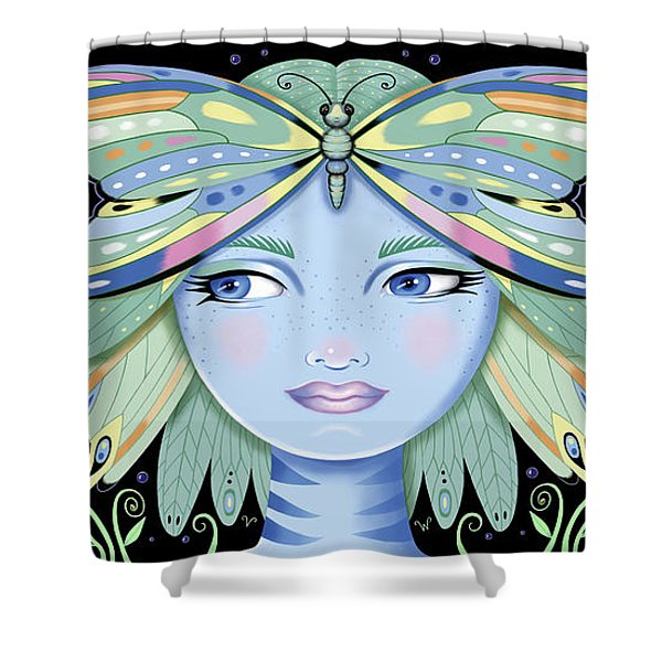 Insect Girl, Winga - Black Shower Curtain