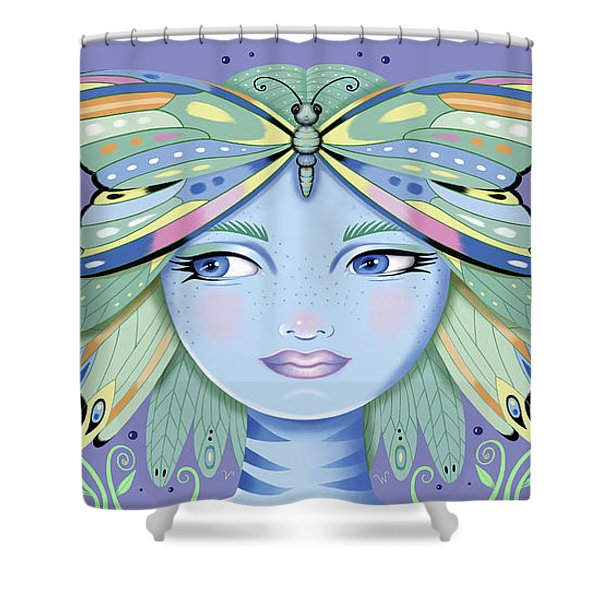 Insect Girl, Winga - Purple Shower Curtain