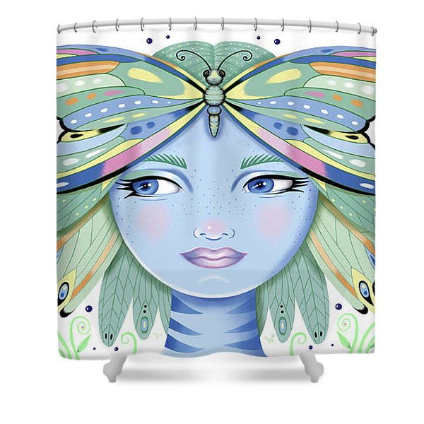 Insect Girl, Winga - White Shower Curtain