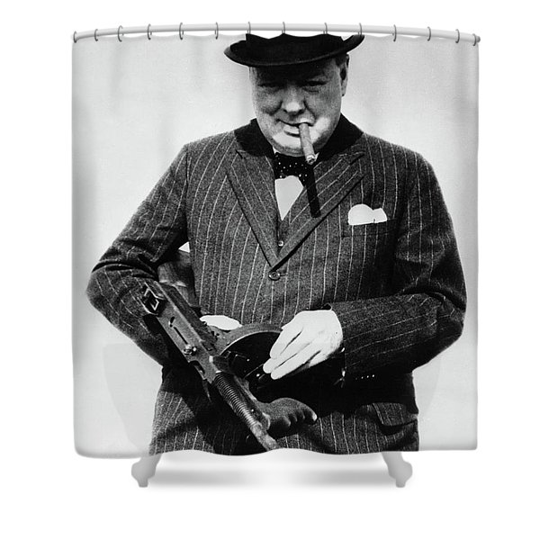 Winston Churchill With Tommy Gun Shower Curtain