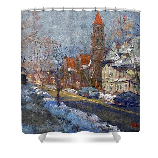 Winter In Elmwood Ave Buffalo Ny Shower Curtain