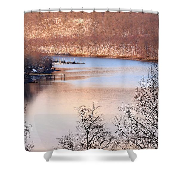 Winter In Pink And Blue Shower Curtain