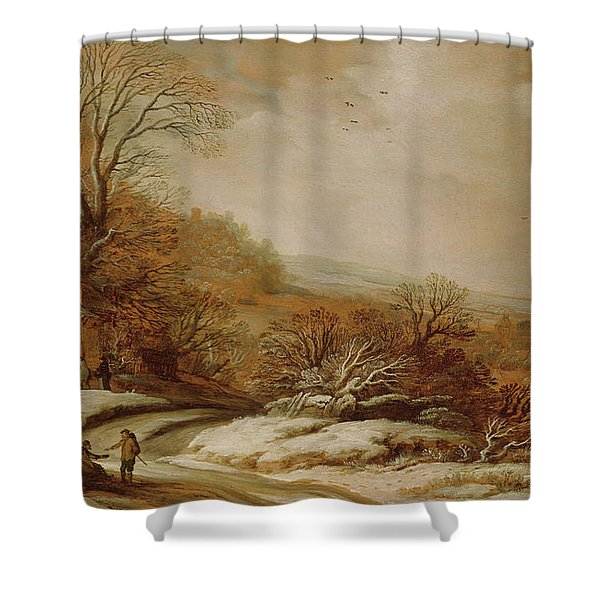 Winter Landscape With Cottages, 1625 Shower Curtain