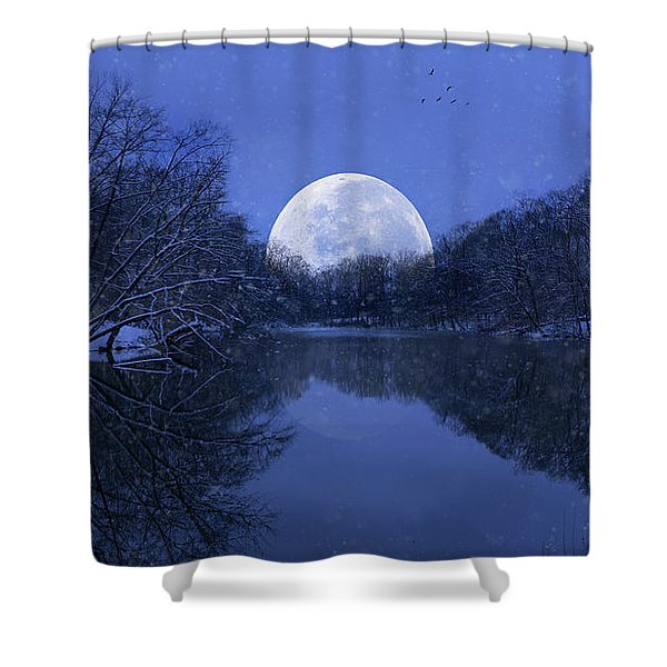 Winter Night On The Pond Shower Curtain