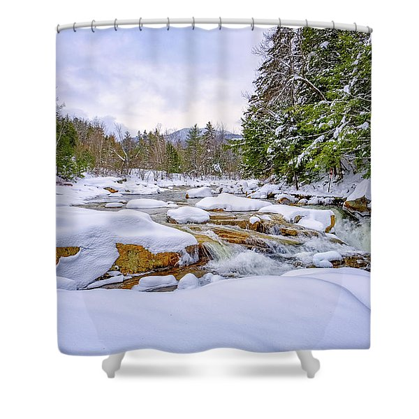 Shower Curtain featuring the photograph  Winter On The Swift River. by Jeff Sinon