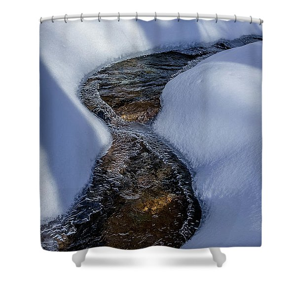 Shower Curtain featuring the photograph Winter Stream. by Jeff Sinon