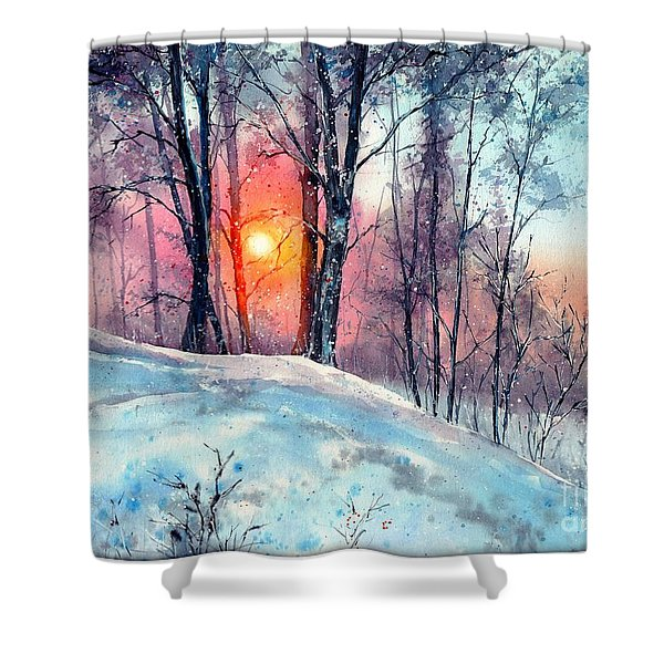 Winter Woodland In The Sun Shower Curtain