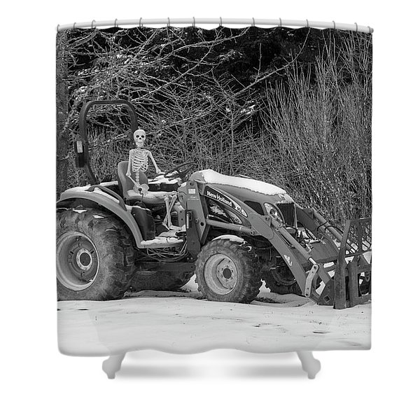 Wintry Country Skeleton On Tractor Shower Curtain
