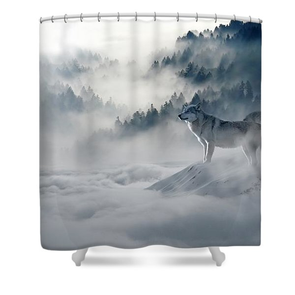 Wolfs In The Snow Shower Curtain