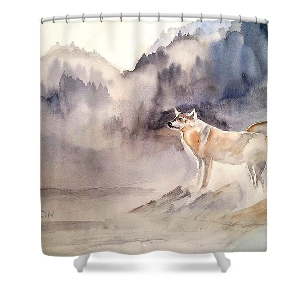 Wolves On Guard Shower Curtain