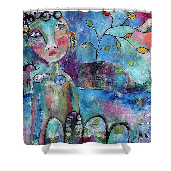 Woman And Whale Shower Curtain