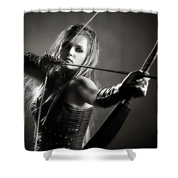 Woman Archer Aiming Arrow Shower Curtain