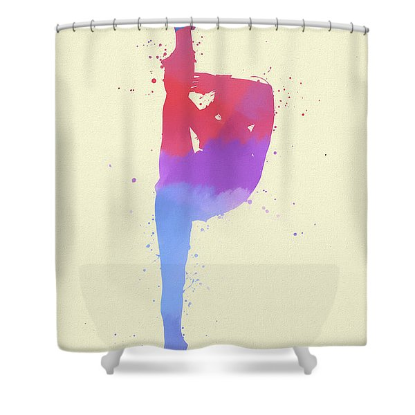 Woman Figure Skater Paint Splatter Shower Curtain