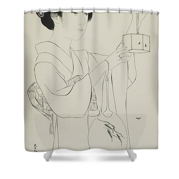 Woman Holding A Firefly Cage, Taisho Era, July 1920 Shower Curtain