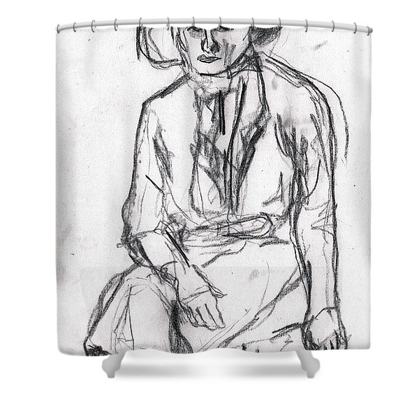 Woman In A Hat Drawing Shower Curtain