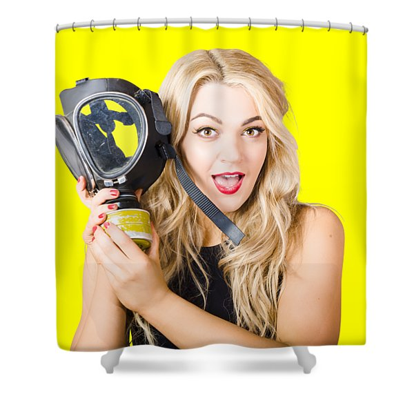 Woman In Fear Holding Gas Mask On White Background Shower Curtain
