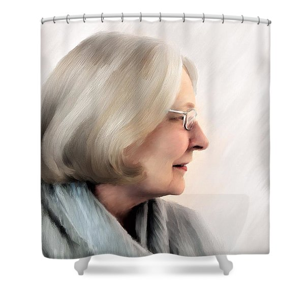 Woman In Grey Shower Curtain