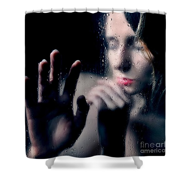 Woman Portrait Behind Glass With Rain Drops Shower Curtain