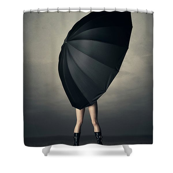 Woman With Huge Umbrella Shower Curtain
