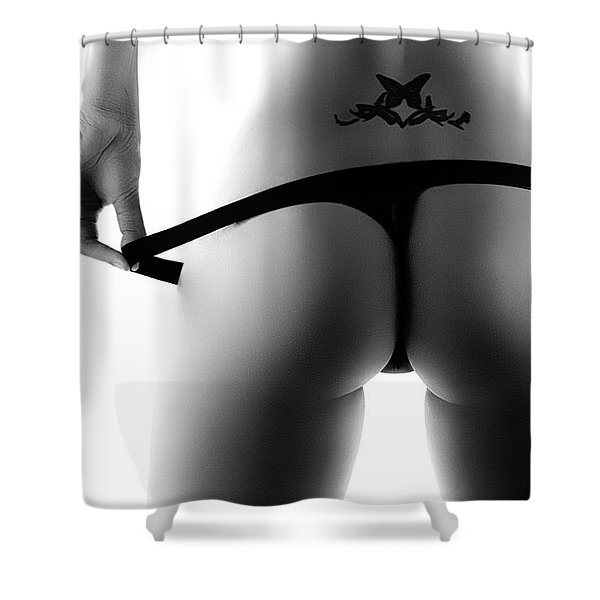 Woman's Buttocks Close-up From Behind Shower Curtain
