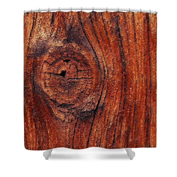 Shower Curtain featuring the digital art Wood Knot by ISAW Company