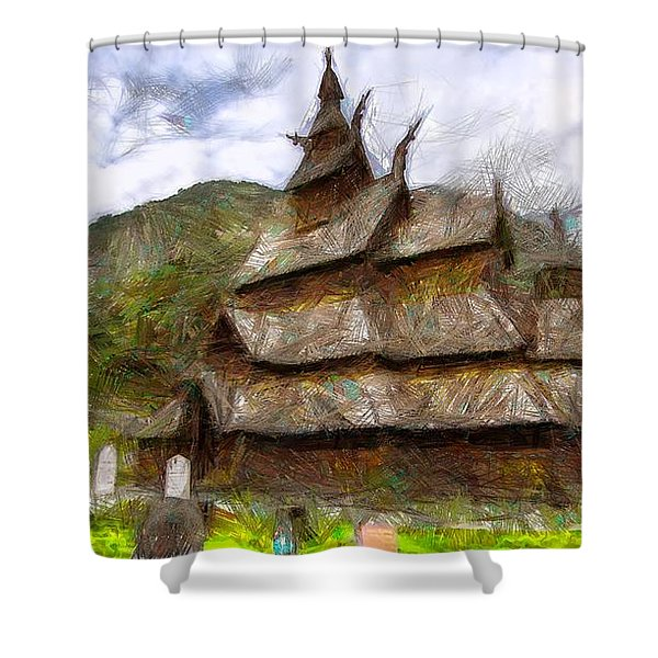Wood Norway Church Shower Curtain