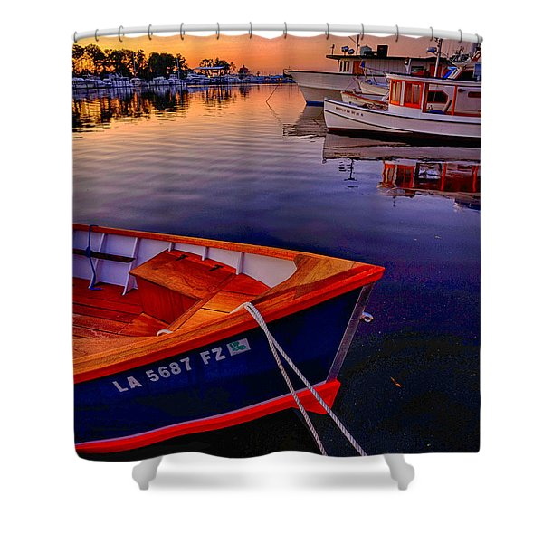 Shower Curtain featuring the photograph Wooden Boats by Tom Gresham