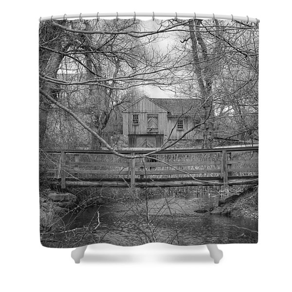 Wooden Bridge Over Stream - Waterloo Village Shower Curtain