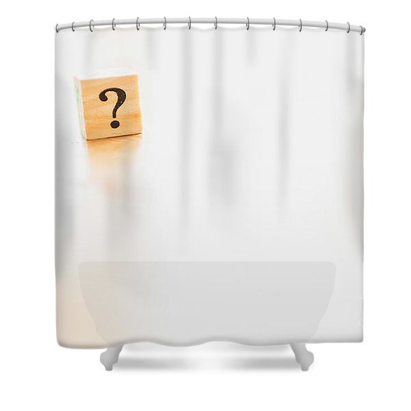 Wooden Dice With Question Mark And Doubt. Shower Curtain