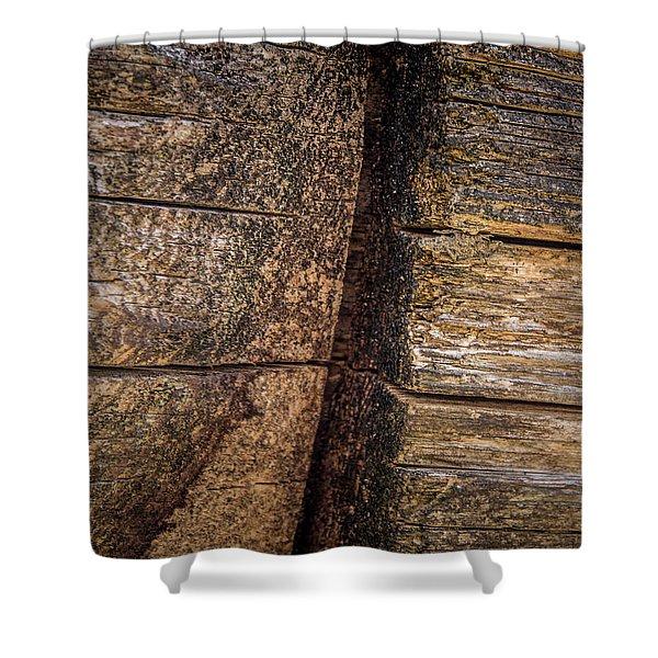 Wooden Wall Shower Curtain