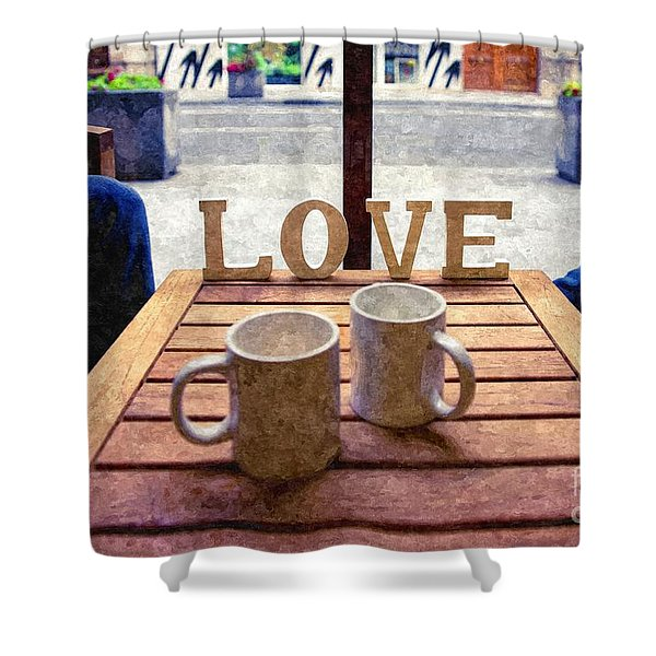 Word Love Next To Two Cups Of Coffee On A Table In A Cafeteria,  Shower Curtain