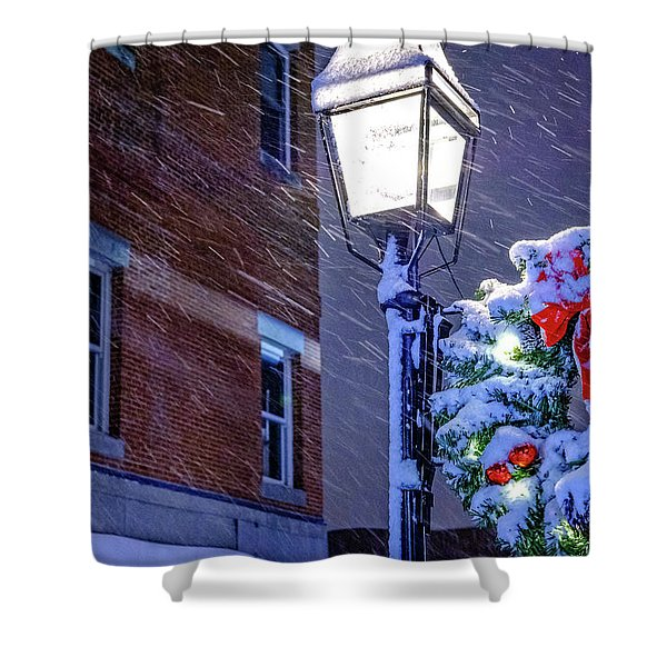 Wreath On A Lamp Post Shower Curtain