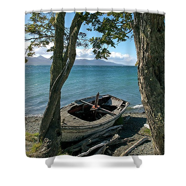 Wrecked Boat Patagonia Shower Curtain