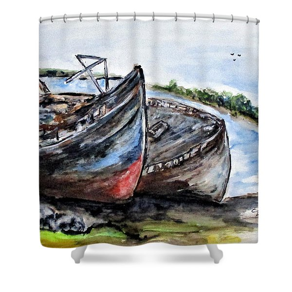 Wrecked River Boats Shower Curtain
