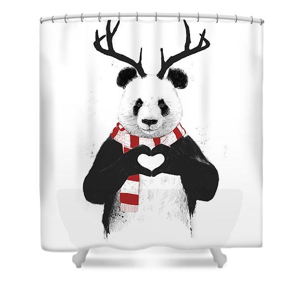 Xmas Panda  Shower Curtain