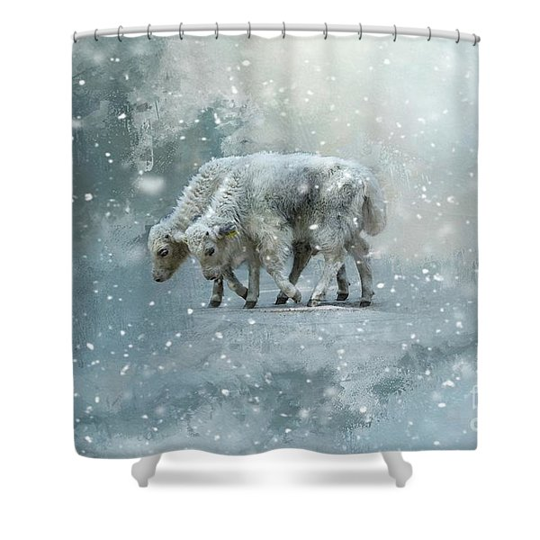 Yaks Calves In A Snowstorm Shower Curtain