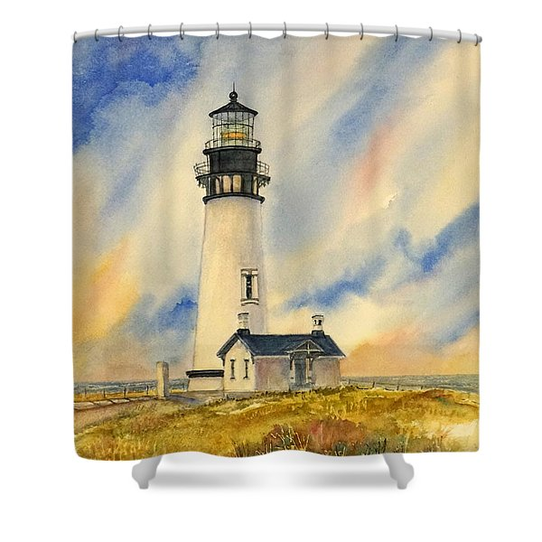 Yaquina Head - Late Afternoon Sunlight Shower Curtain