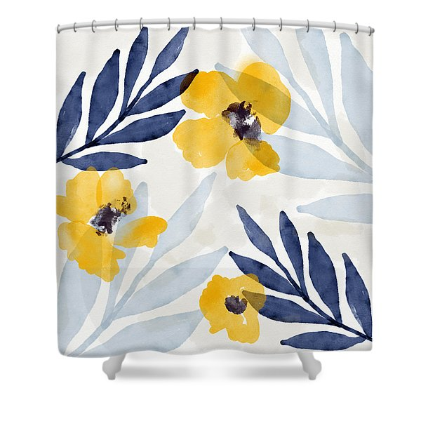 Yellow And Navy 1- Floral Art By Linda Woods Shower Curtain