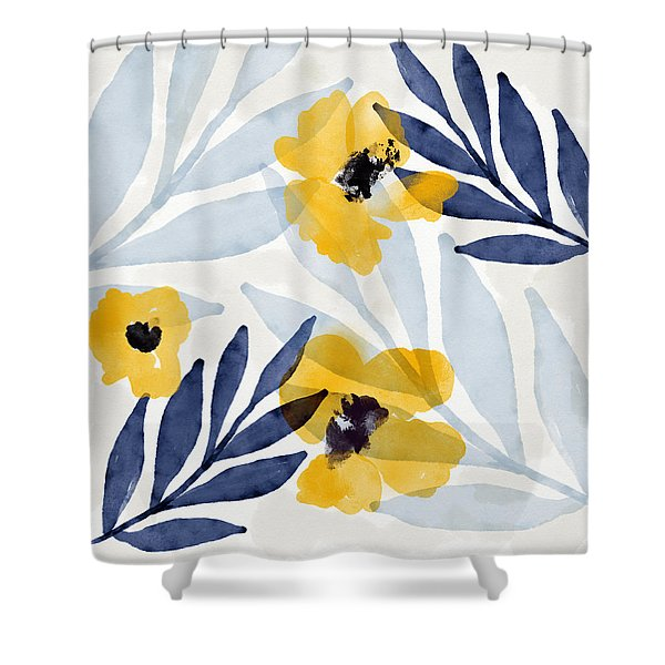 Yellow And Navy 2- Floral Art By Linda Woods Shower Curtain