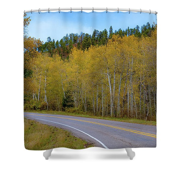 Yellow Aspens Shower Curtain