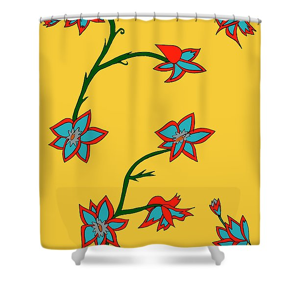 Yellow Background Flowers Shower Curtain